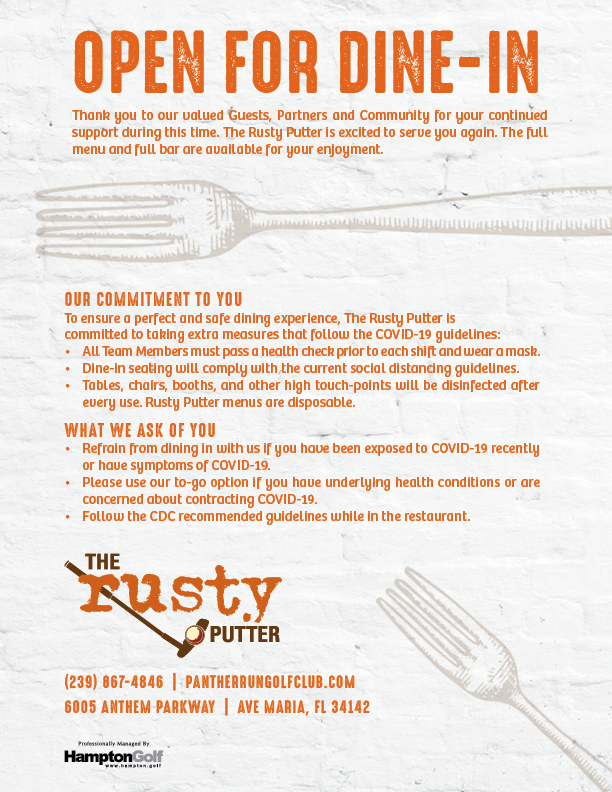 PR Rusty Putter Open for Dine In EMAIL